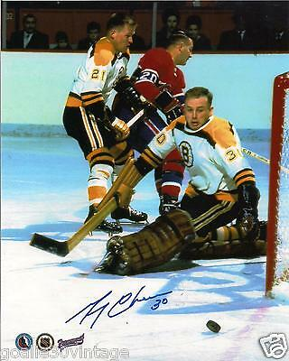 """Gerry Cheevers Without a Mask Autographed Photograph 8"""" by 10""""."""