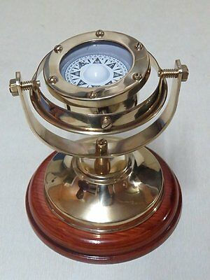 "5"" Brass Plated Gimbaled Brass Compass with Wood Stand - Display Piece Nautical"