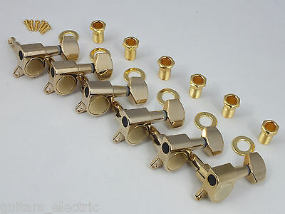 GOLD MACHINE HEADS 6 in LINE TUNERS for Strat or Tele Electric Guitar