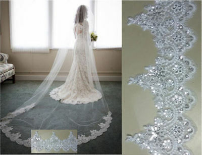 New 1 Layer Cathedral Length 3M Lace with Sequins Wedding Bridal Veil with comb