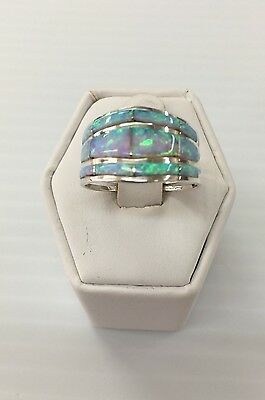 Native American Sterling Silver Zuni White Opal Inlay Ring Size: 6.5