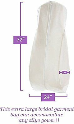 NEW White Wedding Gown Dress Travel Storage Garment Bag Soft Protection Long 72""