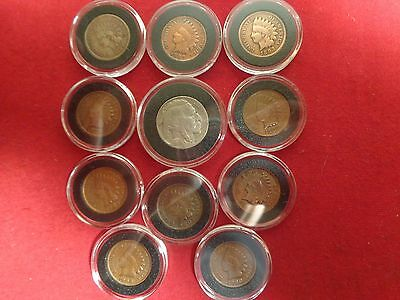 Group of 10 Indian Head Cents in Black Airtites With one Buffalo Nickel 1935