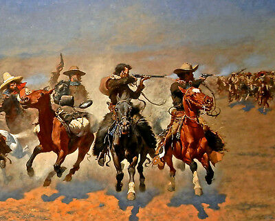 Western Cowboy Painting Dash For The Timber Remington 8x10 Fine Art Canvas Print