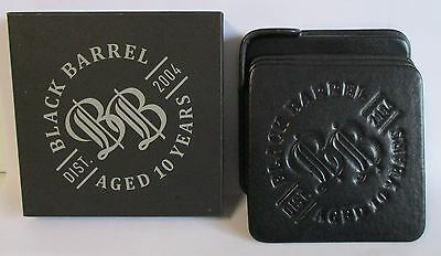 Bundaberg Rum black boxed leather coasters for home brew bar, pub or collector