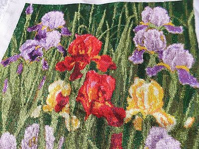 handmade embroidered picture flowers irises  33x27 cm