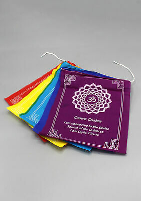 Colorful Seven Chakra Prayer Flags with beautiful Spiritual Messages