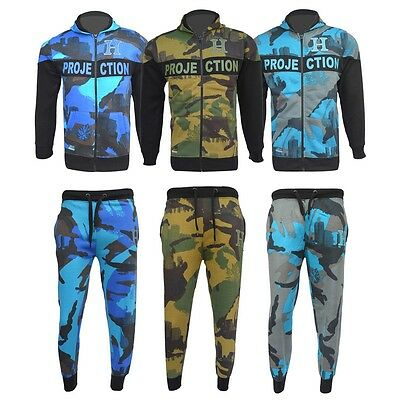 Kids Boys Camouflage Turquoise Royal Blue & Green Hooded 2 Pc Tracksuit 7-13 Yrs