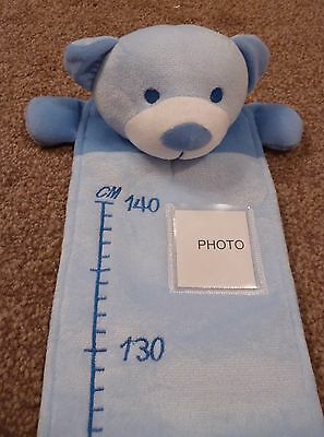 Personalised Embroidered Cute Blue  Teddy Bear Height/Growth Chart