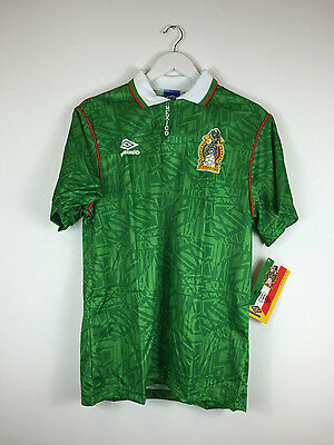 Retro MEXICO 1994 *BNWT* Home Football Shirt (S+M) Soccer Jersey Umbro World Cup