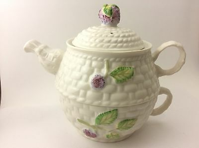 Irish Belleek Fruit of the Forest Indidual Stacking Tea Cup and Teapot Set