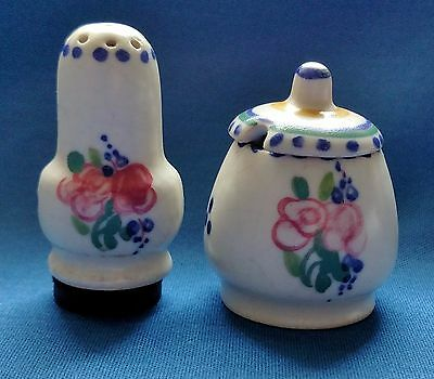 Vintage Poole Pottery Small Lidded Jar Or Pot And One Matching Shaker Crazing
