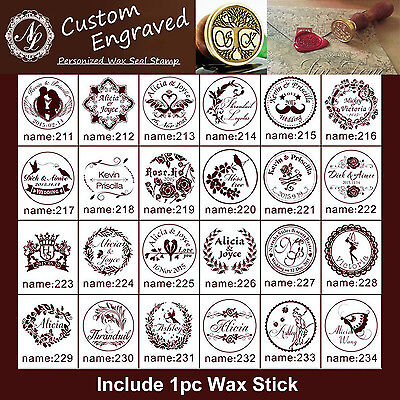 211-252 Custom Engraved Name Date Wedding Invitation Initials Wax Seal Stamp