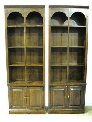 "*PAIR* 1970's  Ethan Allen ""Antiqued Pine"" Bookcases With Cabinet Bases"