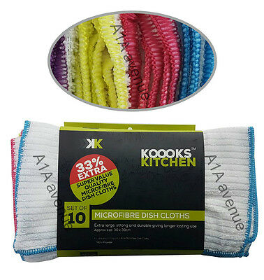 Pack OF 10 Microfiber Dish Cloths Extra Large Strong Durable Kitchen Cloths