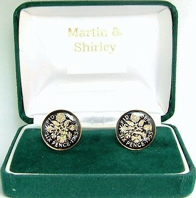 1955 Sixpence cufflinks from real coins in Black & Gold