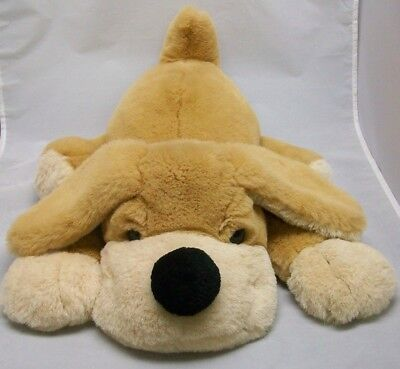 Very Large FAO SHWARZ Fifth Avenue Light Brown & Tan plush laying flat DOG puppy