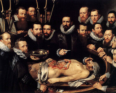 Human Medical Doctor School Anatomy Lesson Painting 8x10 Real Canvas Art Print