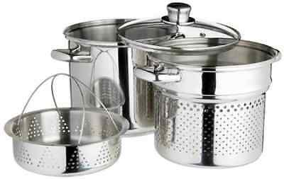 Kitchen Craft World of Flavours Italian Stainless Steel 4 L Pasta Pot with Steam
