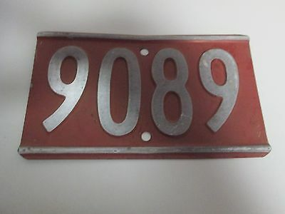 Vintage Metal Fire Number Rural House Identification Sign Marker #9089