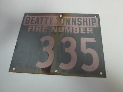 Vintage Metal Rural House ID Sign Marker BEATTY TOWNSHIP FIRE NUMBER 335