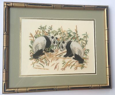 Panda with Bamboo Petit Point Double Matted & Professionally Framed 350