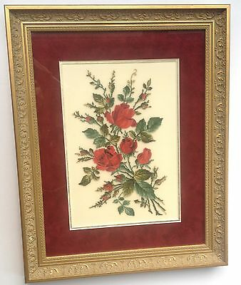 Red Roses Petit Point - antiqued frame double matted and under glass (328)