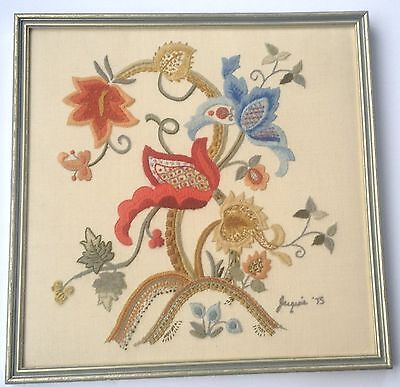 Exotic Floral Needlework - varied stitches & Framed 349