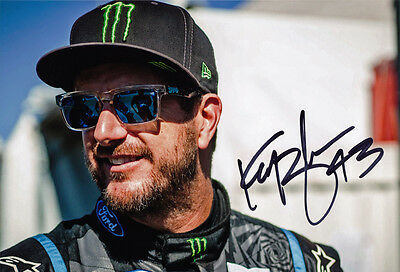 Ken Block Signed 8X12 Inches Ford Fiesta Hoonigan Rallycross Photo with Proof
