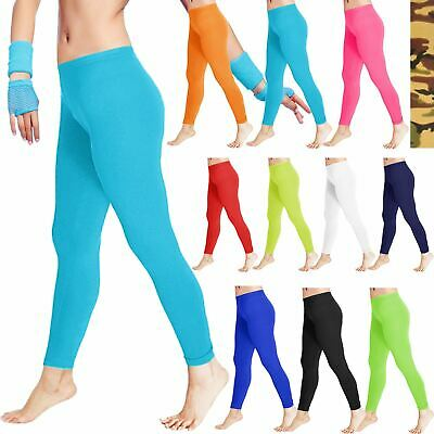Kids Girls Microfiber Leggings Children Slim Fit Elasticated Full Length Trouser