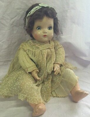 "Vintage Madame Alexander 22-23"" Composition Cloth Doll Tagged Dress McGuffey?"