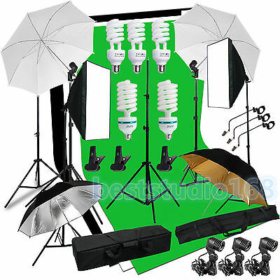 Continuous Photog Video Studio Softbox Umbrella Lighting Backdrop Stand Bulb Kit