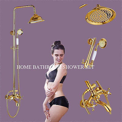 "Luxury Polished Brass Gold Wall Mount 8"" Rain Shower Faucet Set Shower Mixer Tap"