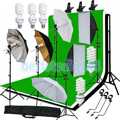 Photography Studio Backdrop Softbox Umbrella Lighting Kit Background Stand Set