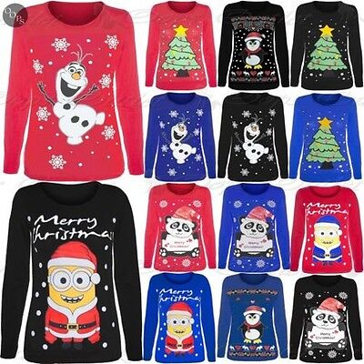 Kids Girls Novelty Christmas Penguin Minion Olaf Jersey T Shirt Age 7-13 Years