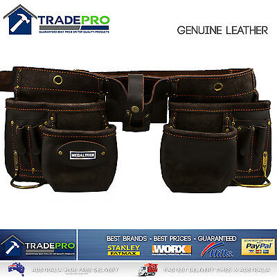 Leather Nail Bag Tool 11 Pocket Pouch Medaltech® PRO Quality Leather with Belt