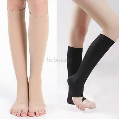 Men Women Knee High Compression Socks Support Stockings Open Toe Relief  S-XL