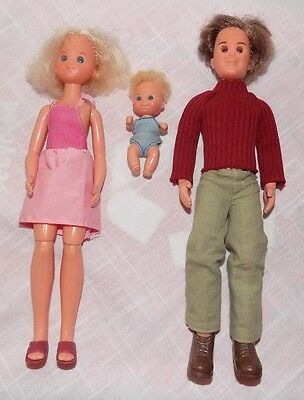 Sun Shine Family 1973 Dad, Mom and Baby Vintage Dolls