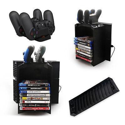 Game Disk Storage Tower with Dual Dock Controller Charging Station for PS4 BEST