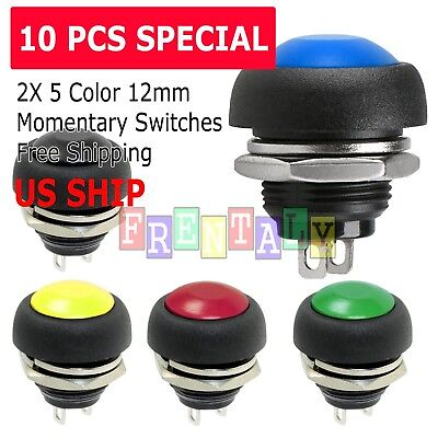 10X Color M4 12mm Waterproof Momentary ON/OFF Push Button Round SPST Switch