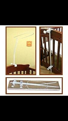 /* Cot Canopy Holder And Moon/Stars White/Grey Canopy Drape New