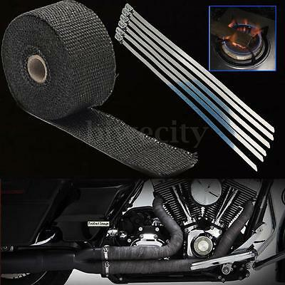 5M x 5cm Black Fiberglass Exhaust Header Pipe Heat Wrap Tape + Stainless Ties
