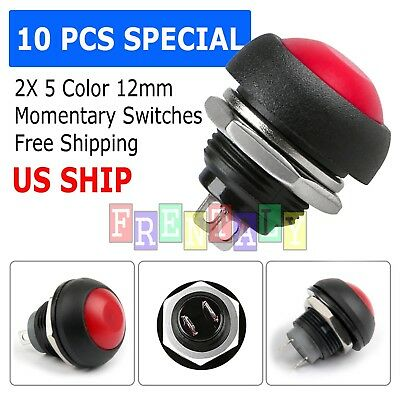 Red 5 Pcs M4 12mm Waterproof Momentary ON/OFF Push Button Round SPST Switch