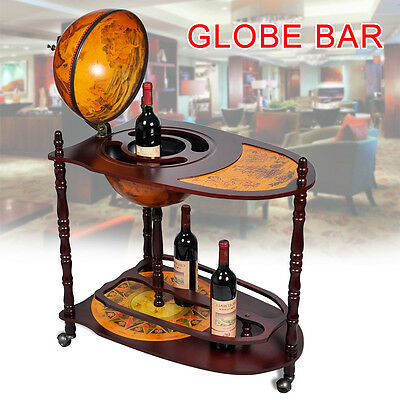 RETRO Globe Shaped Mini Bar Trolley With Table Drinks Cabinet Bottles 330MM