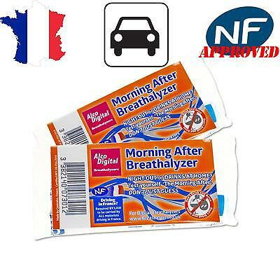 2 X French Law NF Approved Single Use In-Car Breathalyzer Kit