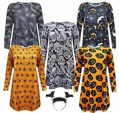 Ladies Halloween Printed Swing Dress Pumpkin Bat Spider Web Trick Treat Party