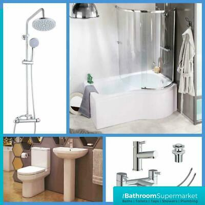 P Shaped Bathroom Suite Right Hand 1700 Bath BTW Toilet WC Basin Taps & Shower