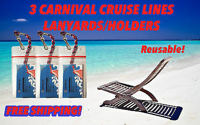 3 Carnival Cruise Lines I.D. Holders & Lanyards ZIP LOCK SEALED  NEW