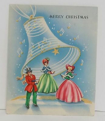 Vintage Christmas Card Greeting victorian People Caroling Under Bell Glitter