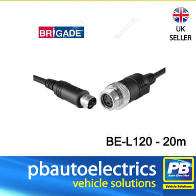 BRIGADE BE-X020 ELITE OR EXTREME REVERSE CAMERA 20M EXTENSION CABLE 4 PIN MINI